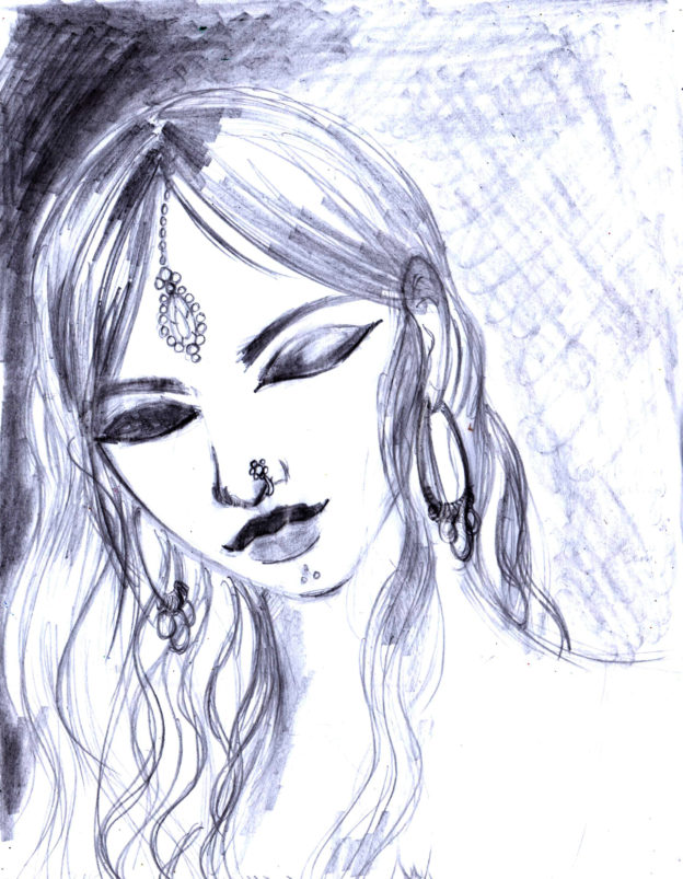 Desi Girl – From Sketches to Finished Painting – (Part 1)