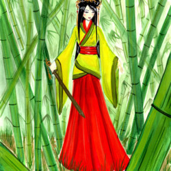 Bamboo Forest Warrior - Children's Book Illustration
