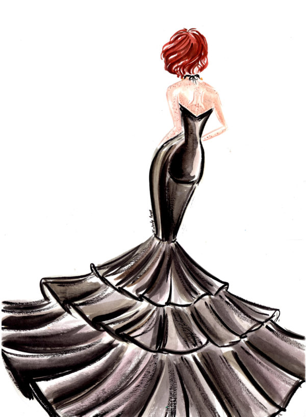 Evening Wear Fashion Illustration Set – Traditional Mediums