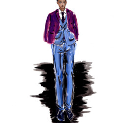 Giorgio Armani Fall 2017 Look 4 - Fashion Illustration Menswear