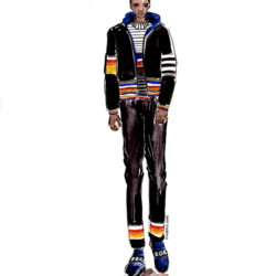 Iceberg Fall 2016 2017  Look 16 - Menswear Fashion Illustration